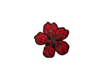 ID #6708 Red Bloom Blossom Flower Plant Iron On Embroidered Patch Applique