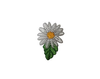 ID #6769 White Yellow Wildflower Blossom Iron On Embroidered Patch Applique