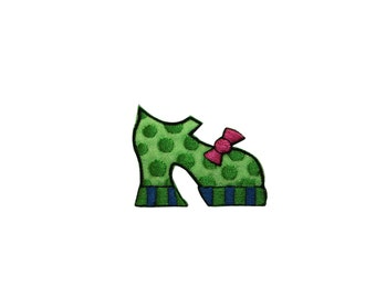 ID #7426 Green Dotted Pump Fashion Shoe Iron On Embroidered Patch Applique