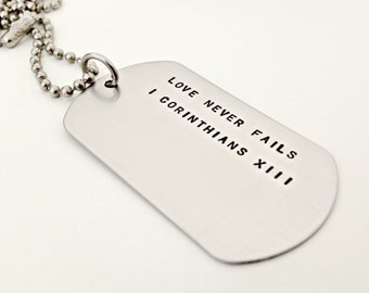 Personalized Dog Tag Necklace - Hand Stamped Mens Necklace - Custom Mens Jewelry - Traditional Military Style Dog Tag - Phrase Bible Verse