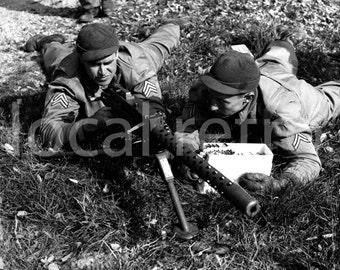 "WWII Combat Training Photograph - 8""x10"" - Black & White - Machine Gun Operators - Man Cave Stuff"