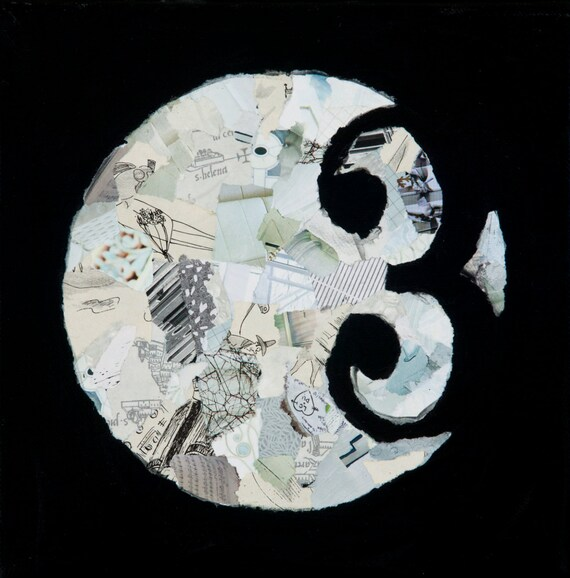 mixed media original: '3/Stop Seeking Alternatives' black and white painting, circles and numbers, collage