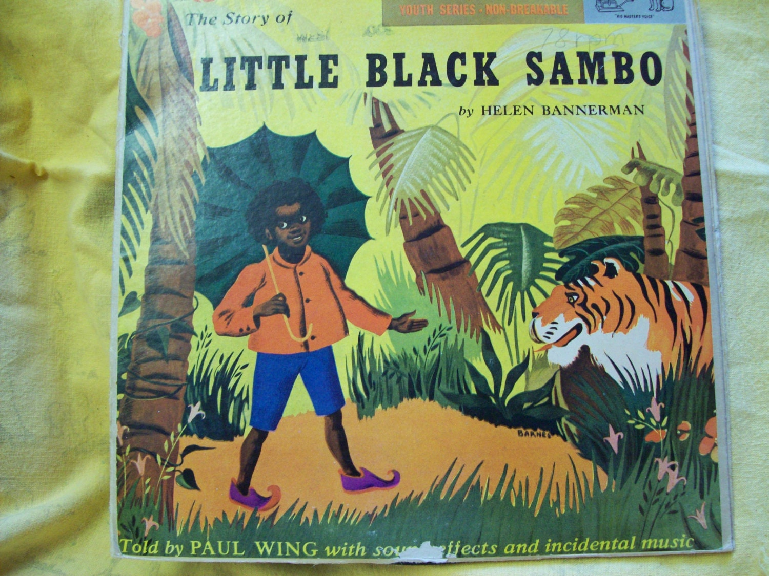 Vintage Little Black Sambo Book & Two 78 Records Black