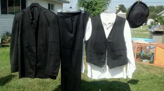 """Complete Amish Man's Suit Costume XL 44"""" Reg 38""""x32"""""""