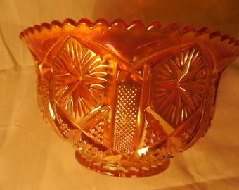 "Imperial Rubigold ""Star and File"" Bowl    g280"
