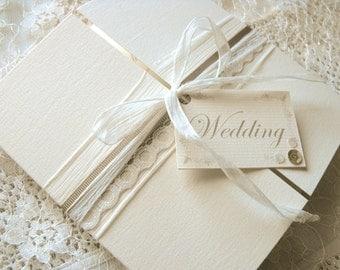Lace Wedding Invitation, Mocha