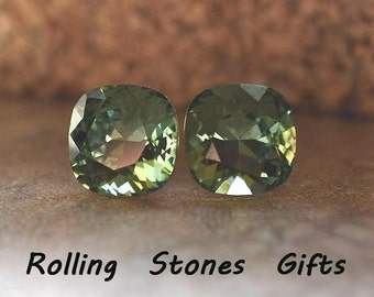 10mm Erinite Swarovski Rounded Corner Square Rhinestone Stud Earrings-Erinitel Crystal Studs-Green  Studs-Rostone