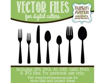 Utensils (Set 1) Vector Digital Cut File (eps,svg, gsd,dxf, ai, jpg, png)