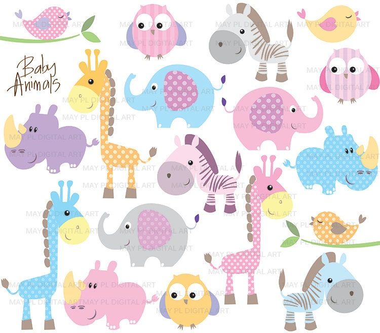 Baby Animals Clip Art Cute Baby Shower Pastel by ...
