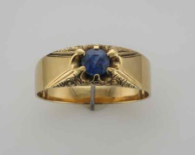 14 Karat Yellow Gold Blue Sapphire Embossed Belcher Ring