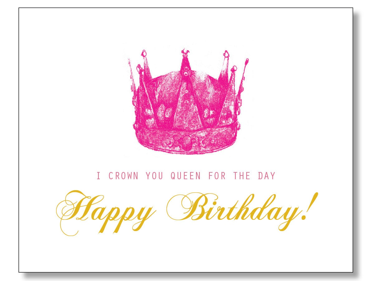hilarious queen happy birthday card hand drawn eco. Black Bedroom Furniture Sets. Home Design Ideas