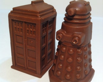 Truffle Tardis and Dalek Chocolates. 6 Count- Flavors of Your Choice.