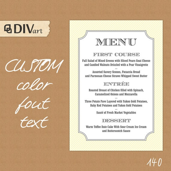 Wedding Food Menu Ideas: Items Similar To PRINTABLE Wedding Menu, Rehearsal Dinner