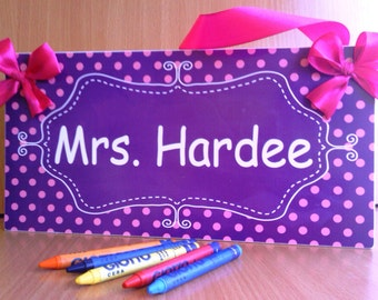 custom teacher classroom door sign - purple chalkboard design with pink polka dots plaque - P328