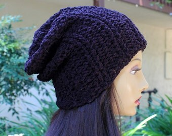 Hand Knit, Dark Purple, Rib Knit, Soft, Nubby, Slouchy, Acrylic, Over Sized, Beanie Hat for Women or Men Fall, Winter, Back to School