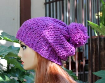 Hand Knit, Plum Purple, Slouchy, Over Sized, Rib Knit, Acrylic, Beanie Hat with Four Inch Headband Large Pom Pom Woman, Man Back to School