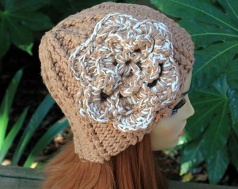 Hand Knit, 100 Percent Organic Cotton, Light Brown, Tan, Rib Knit, Beanie Hat with Large, Cream, Crochet Flower Woman Back to School