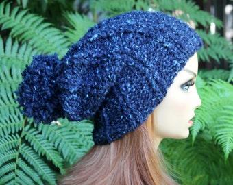 Hand Knit, Wool/Acrylic, Dark Teal with Light Aqua Flecks, Slouchy, Rib Knit, Beanie Hat with Large Pom Pom Women Men Back to School