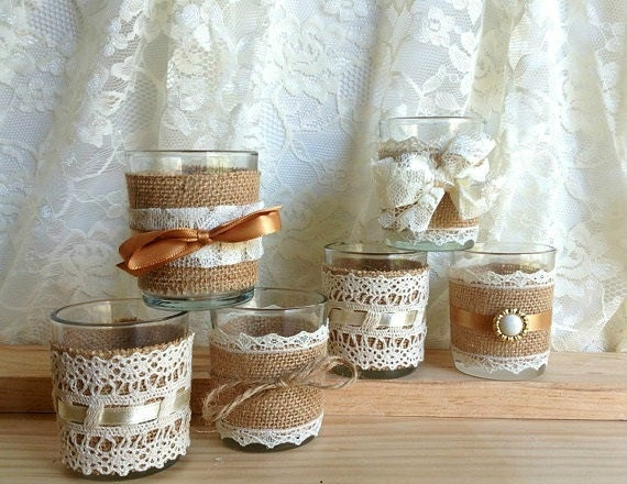6 Burlap And Lace Covered Votive Tea Candles Country By