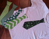 St. Patrick's Day Iron On Tie Applique for Boy Shirts (Size 4-6)