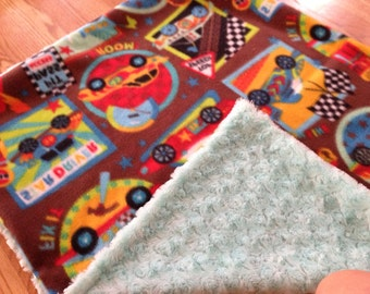 Cars & Trucks Handmade Baby Blanket Fleece with Minky Swirl