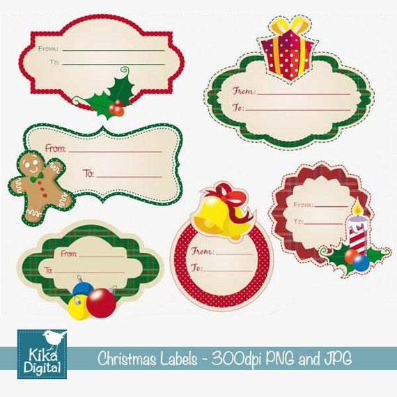 Christmas Labels Digital Clipart / Scrapbook Tags card