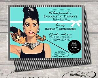 breakfast at tiffany's invitation invite tiffany and co. hens night shower bachelorette party birthday