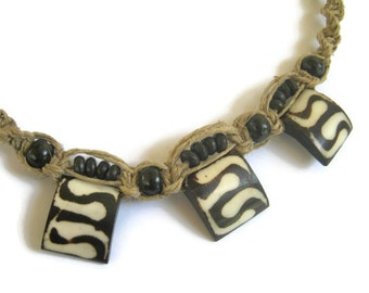 Tribal Bone Necklace, Hemp Macrame Adjustable Choker,  Bohemian Hippie Heishi Necklace