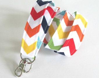 Rainbow Lanyard ID Badge Holder Chevron Fabric Lanyard in Primary Colors Teacher Lanyard, Key Lanyard Keychain
