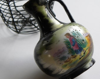 Antique FRENCH Estate All Handmade Pottery Vase, Women Feeding Her Ducks FOLK Art Painted Pastel Colors, A Beautiful Story Scene