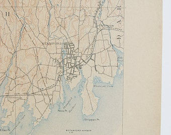 Antique Rare New York, Stamford, Connecticut & Surrounding Areas 1911 US Geological Survey Topographic Map