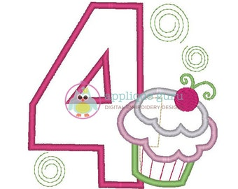 Cupcake Party Four -- Birthday Applique Machine Embroidery Design