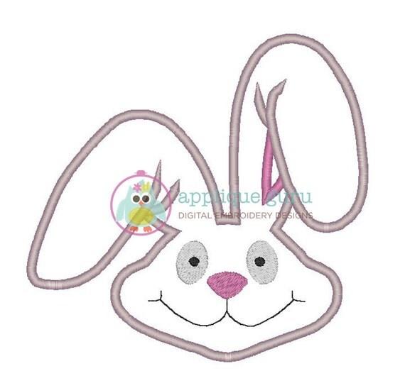 Bunny head applique machine embroidery design