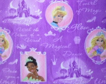 "Child/Teen Sized Disney Princess- Cinderella, Tiana and Rapunzel No Sew Fleece Blanket with Your Choice of Back- 1.5 yard (54"" x 60"")"