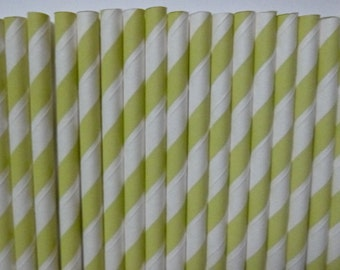 25 Light Pistachio Green Striped Paper Straws- Pastel Green- Baby Shower Decorations- Easter Decor, Wedding, Bridal Shower- Cake Pops
