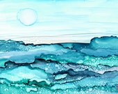 Shimmering Seas-  Alcohol Ink Painting -  Matted and Ready to Frame
