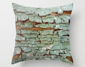 Breakdown, peeling paint pillow cover, Greek, weathered, blue, aqua, wood, brown, rust, shabby chic, decay, deterioration, grunge, Greece