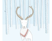 "Illustration artprint ""White stag"""