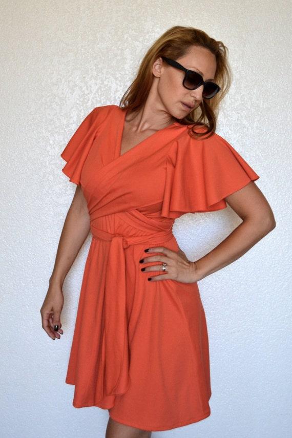 Coral wrap dress.
