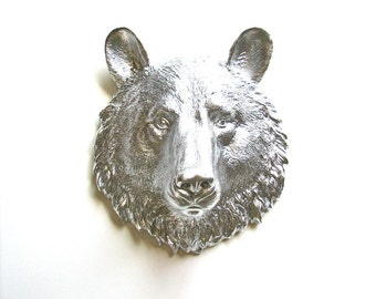 SILVER Small Faux Taxidermy Bear Animal Head wall hanging in silver / nursery / woodland decor / office decor / metallic / forest
