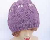 Handknitted Owl Hat, Cable Benie Hat, Women Hat in Purple, Owl hat in Purple, Handmade Hat