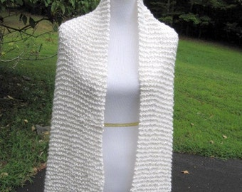 Hand Knit White with Gold Handmade Wrap Wedding Prayer Shawl with Pocket or not