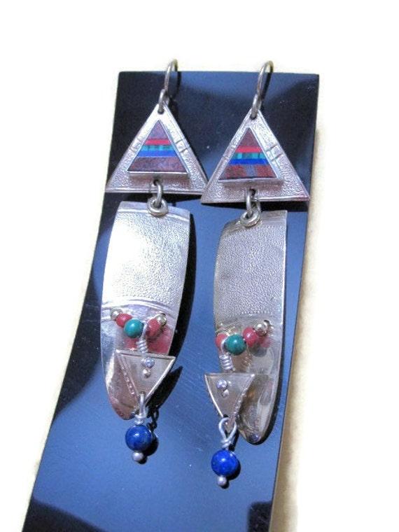 Tabra Gold Earrings semi precious stones signed