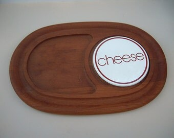 Mid Century Teak Tray Cheese Tile 1970s