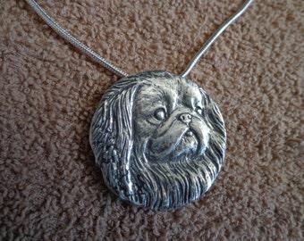 Pekinese pendant / brooch,.925 anti-tarnish silver.