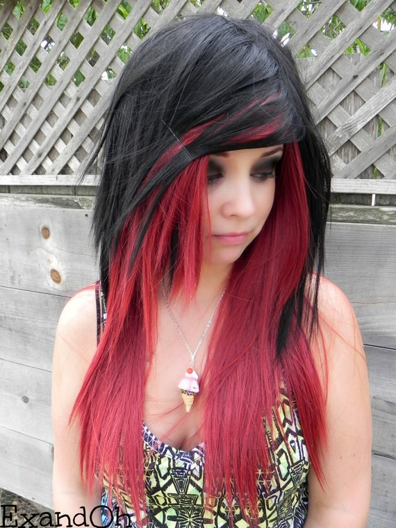 Chocolate Bordeaux / Auburn Red and Black / Long Straight Layered Wig