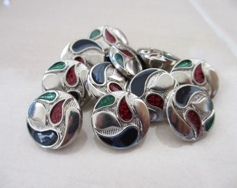 12  Vintage 18 mm Silver Tone Shank Button with  Red Green Blue Abstract Design