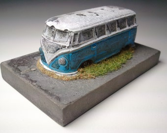 Collector Series abandoned VW Bus urban fossil concrete contemporary collectable model