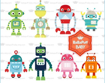 Buy 2 Get 2 Free ---- Digital Robots Clipart ---- Personal and Small Commercial Use ---- BB 0802