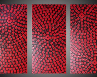 Large Paintings 3 Panel Acrylic Painting Abstract Wall Art large Canvas Art Black Red Squares Wall Hangings 48 x 72 Made to Order by ilonka
